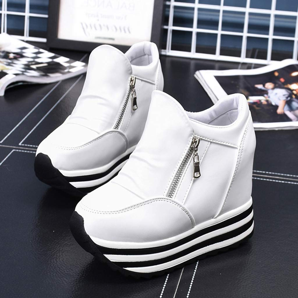 Claystyle Womens Increased Within The Higher Flat Shoes Side Zipper Casual High Heels Wedges Platform Sneaker(White,US: 7) by Claystyle Shoes (Image #4)