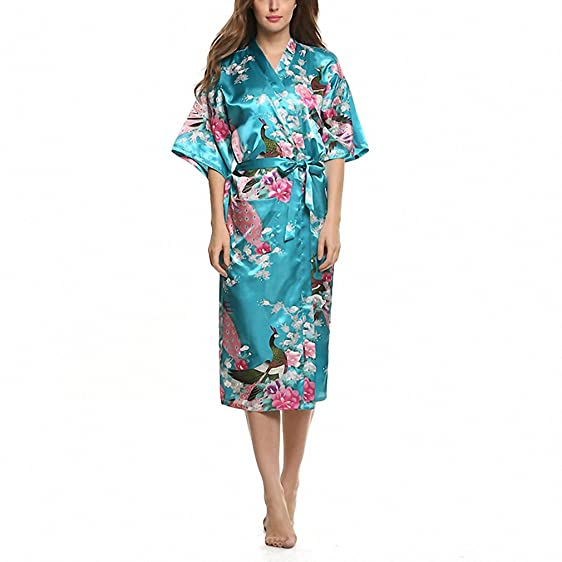 Women Satin Kimono Robe Sleepwear Silk Pajama Casual Bathrobe Long ...