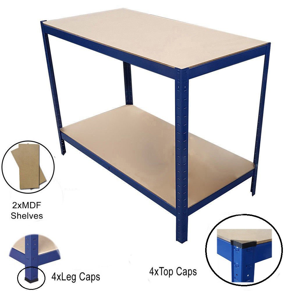 (1200 x 600 x 920) mm Blue Heavy Duty Steel Work Bench Station Shelves Garage Warehouse TMZ ©