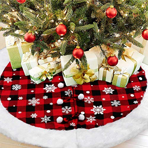 AerWo Buffalo Plaid Tree Skirt with Luxury Faux Fur Edge, Red and Black Buffalo Check Christmas Tree Skirts Snowflake Xmas Tree Skirt for Christmas Holiday Winter Decorations, 48inches