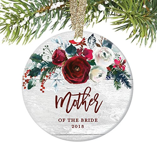 "Mother of The Bride Ornament, Wedding Christmas Ornament 2018, Mom Daughter Marriage Party Favor Gift Modern Farmhouse Ceramic Present Keepsake 3"" Flat Circle Porcelain with Gold Ribbon & Free Box"
