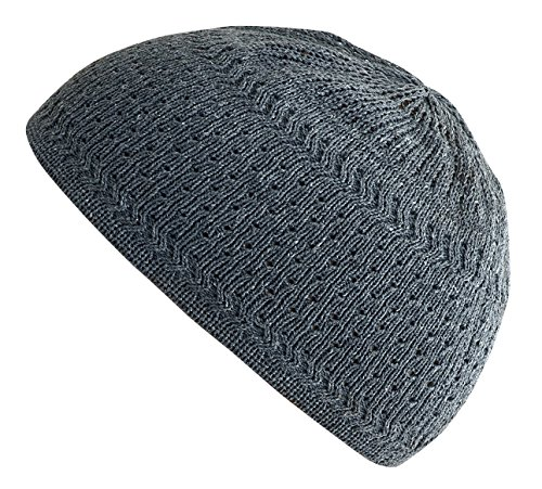 - Muslim Bookmark Stretchy Elastic Beanie Kufi Skull Cap Hats Featuring Cool Designs and Stripes (Gray w/Perforated Design)