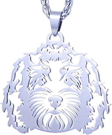 Silver Metal Dog Pendant on a Chain Goldendoodle Labradoodle Charm Necklace Ladies I Love Poodle Mix Golden Lover Gift