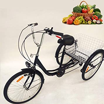 """TFCFL 24"""" Triciclo de 3 Ruedas para Adultos Bicicleta de Carga de 6 velocidades Trike"""