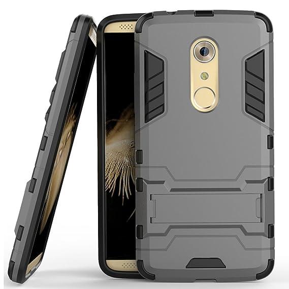 the latest fcbec 7f484 Axon 7 Case, ZTE Axon 7 Case, MicroP(TM) Dual Layer Armor Hard Slim Hybrid  Kickstand Phone Cover Case for ZTE Axon 7 (Gray Kickstand Case)