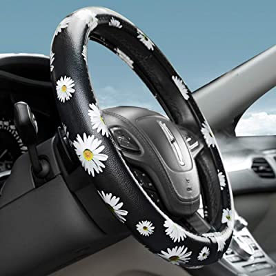 Dotesy PU Leather Auto Car Steering Wheel Cover Floral Anti-Slip Wheel Protector for Women,Lady,Universal 15 inch Non-Toxic Daisy: Automotive