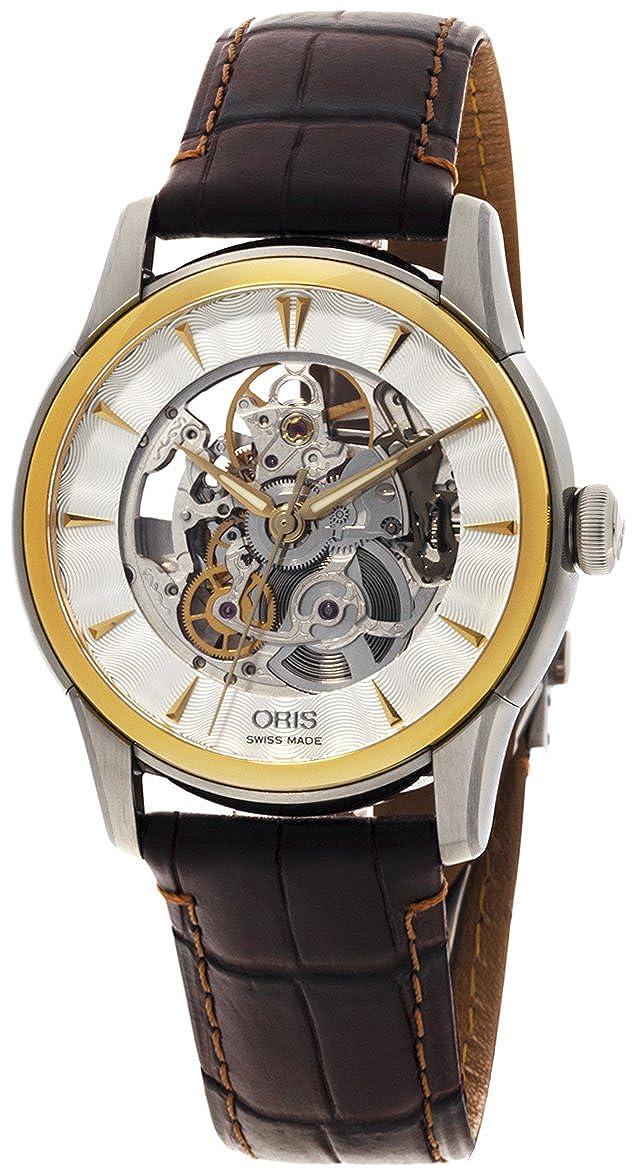 Oris Artelier Skeleton Automatic Steel Gold Tone Mens Strap Watch 734-7670-4351-LS