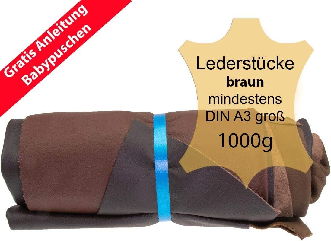 Langlauf Schuhbedarf ® - Retales de piel extragrandes (1 kg), color marrón. Todas las piezas son de un Tamaño mínimo DIN A3, incluye instrucciones para patucos (idioma español no garantizado)