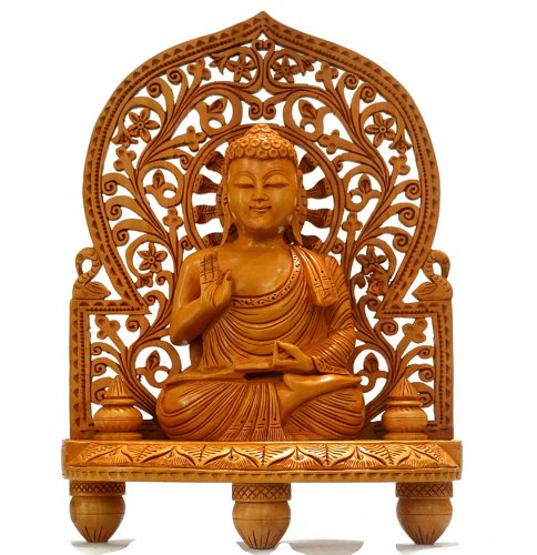 CraftVatika 10 Hand Carved Wood Buddha Statue Large