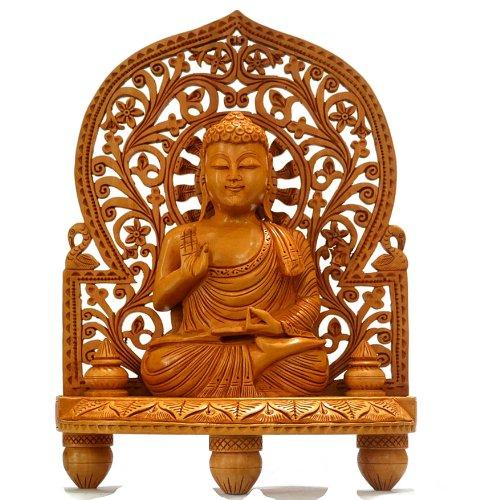 CraftVatika 10 Hand Carved Wood Buddha Statue Large