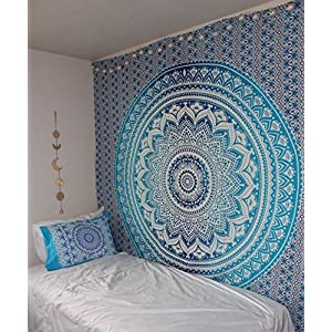 Wall Tapestry - Hanging MANDALA Tapestries – Bohemian Beach Picnic Blanket – Hippie Decorative & Psychedelic Dorm Decor - 92 x 82 Inch (Blue Queen) by Craft N Craft India