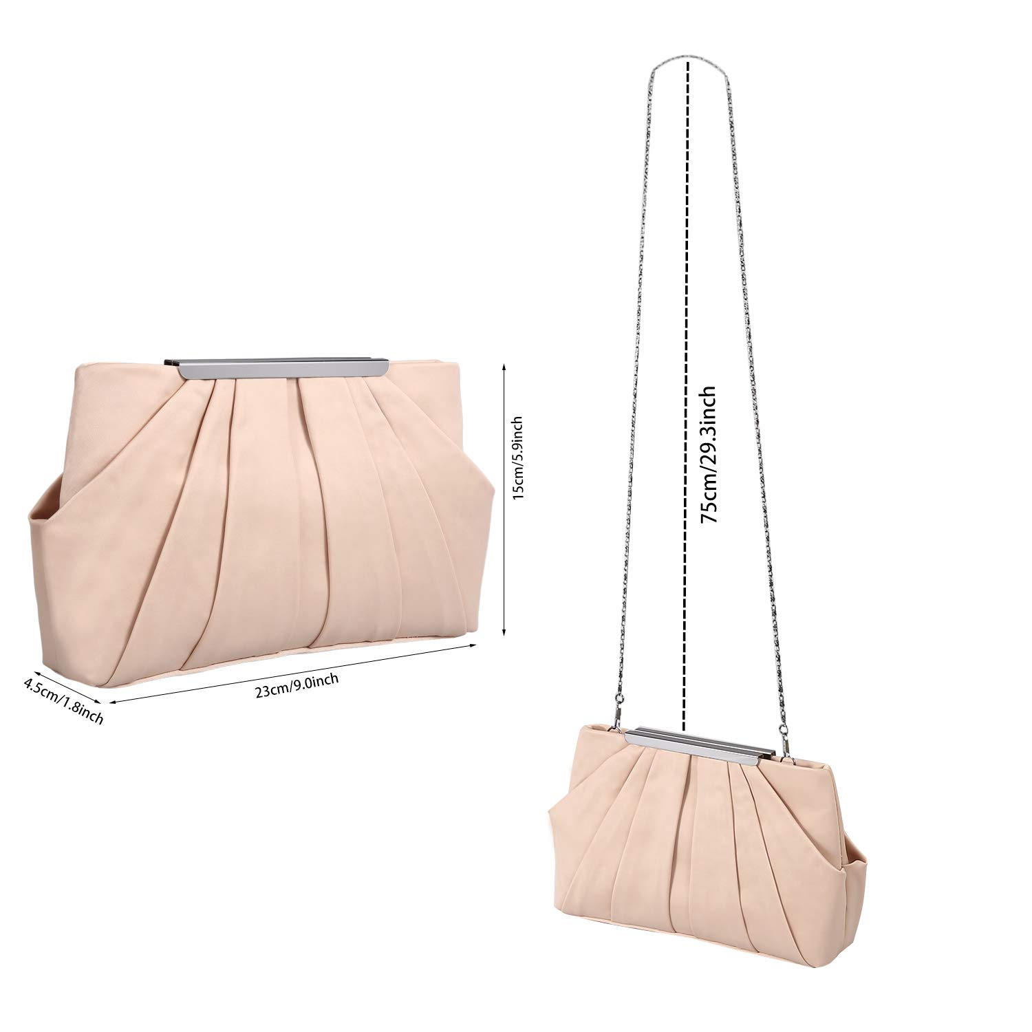 4834b53764 Womens Pleated Satin Evening Handbag Clutch With Detachable Chain Strap  Wedding Cocktail Party Bag