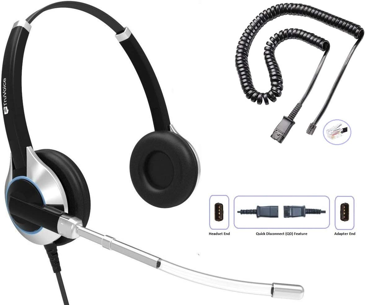 TruVoice HD-350 Deluxe Double Ear Headset with Noise Reduction Voice Tube & U10P Bottom Cable Works with Mitel, Nortel, Avaya Digital, Polycom VVX, Shoretel, Aastra, Digium + More (Single Ear)