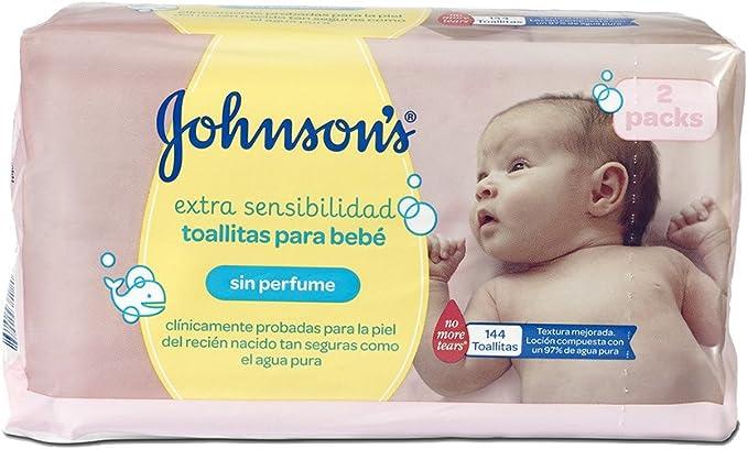 Johnsons Baby Toallitas Bebé Sensitive - 2 Pack: Amazon.es: Salud ...