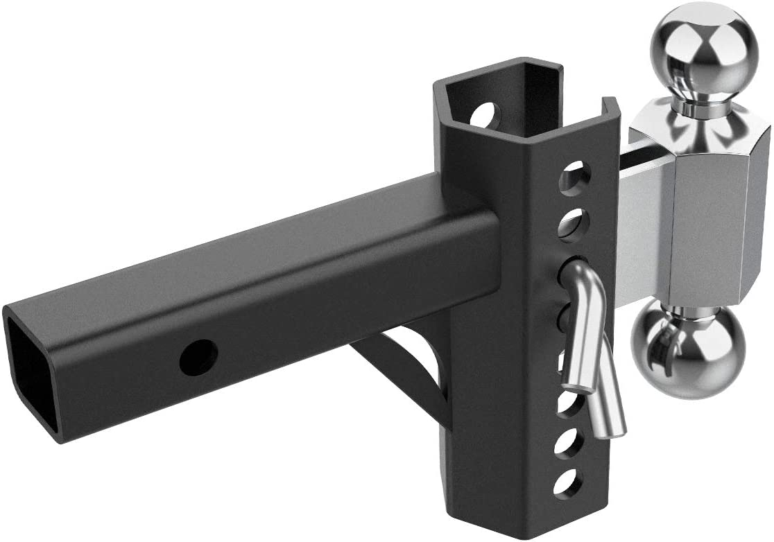 8 Position Adjustable Maximum 3 Drop//4 Rise Trailer Hitch with 2 and 2-5//16 Black Textured Powder Coat, Solid Steel 10000lbs Rating Sulythw 2 Hitch Receiver Dual Ball Mount Heavy Duty