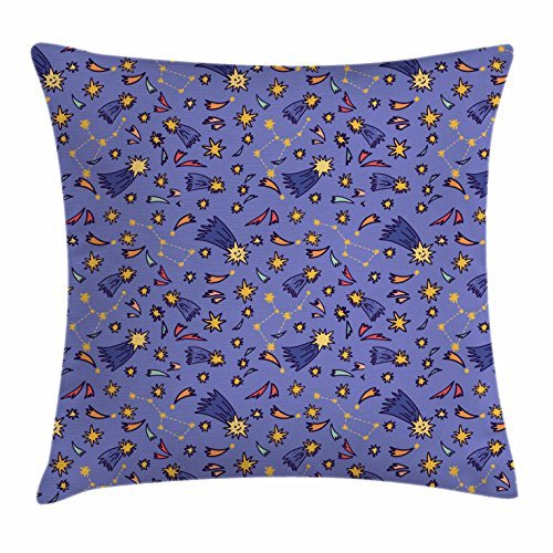 Constellation Throw Pillow Cushion Cover, Doodle Style Colorful Pattern of Shooting Stars and Asteroids Cosmic Entities, Decorative Square Accent Pillow Case, 18 X 18 Inches, Multicolor ()