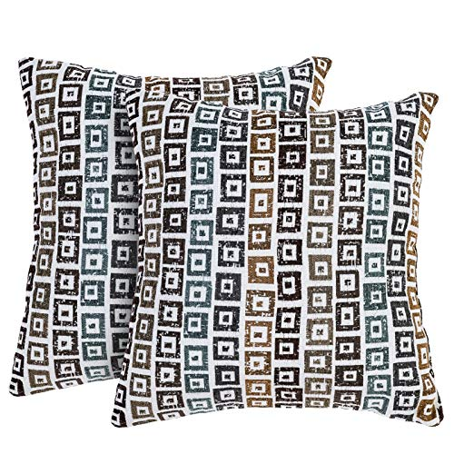 DECOMALL Super Soft Geometric Modern Contemporary Mosaic Multicolor Decorative Square Throw Pillow Cover Cushion Cases for Sofa, Couch, Bedroom, 18x18 in, Pack of 2