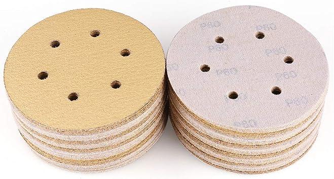 6 agujeros grano 100 paquete de 25 papel de lija para lijadora orbital aleatoria de 150 mm 15 cm 100# 25 discos de lijado