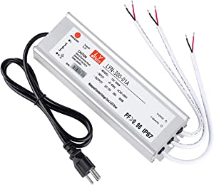 LED Driver 300 Watts (100W X3) 25A, Waterproof IP67 power transformerAdapter90-265V AC to 12V DC low voltage output, With 3-pin plug 3.3 ft LED cable for LED Lighting Outdoor Light and Any 12V DC led