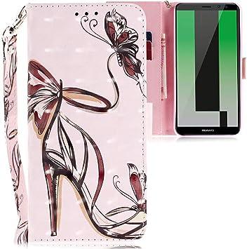 sélection premium 10bf6 1de82 CLM-Tech Huawei Mate 10 Lite Coque de Protection, Portefeuille en Cuir  synthétique, Chaussure de Dame Papillon Rose, Housse Etui pour Huawei Mate  10 ...
