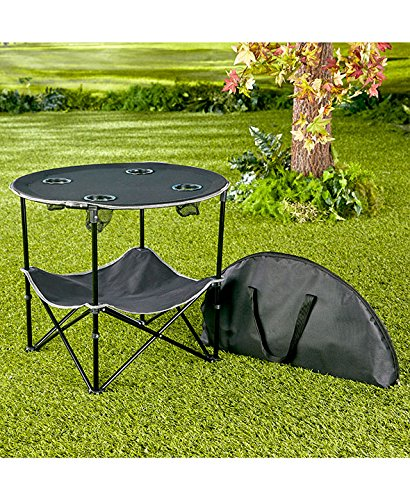 The Lakeside Collection Black Folding Picnic Table with Shelf
