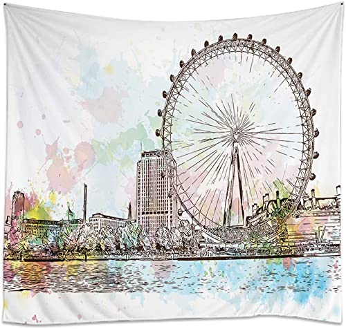 Moslion Ferris Wheel Tapestry Sketch of UK Britain London Giant Ferry River Lake for Lover Couple Wall Tapestries for Bedroom Large Home Decorative Polyester Tapestries 60×90 Inch