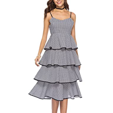 bbca29a1fed Yandam Plaid Elegant Cake Skirt Tube top Dress Female Strap Dress at Amazon  Women s Clothing store