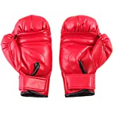 Sponge Padded Red Faux Leather Boxing Gloves for Child