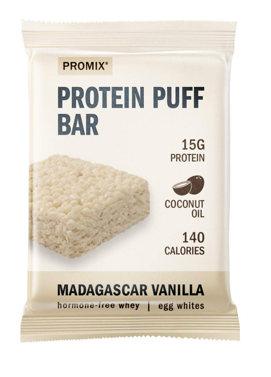 Promix Whey Protein Isolate Puff Bar, Vanilla Bean, 12 Count, 16.9oz | 15g Protein, 150 Calories each|Low Carb Healthy Snack with Egg Whites | All Natural, Grass Fed,Gluten Free, Low Sugar, Soy Free by ProMix Nutrition