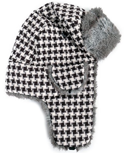 (Dazzling Pattern Fur Trapper Aviator Hat, Brown )