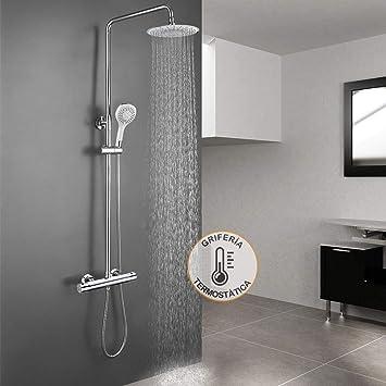 Columna ducha extensible con grifo termostático, maneral de ducha ...