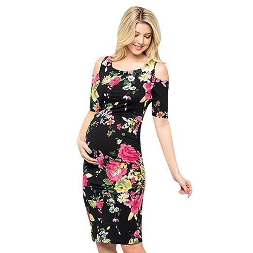 b4a550be141ca Pregnant Dress, WensLTD Fashion Floral Print Cold Shoulder Bodycon Dress  Pregnant Dress for Maternity Clothes