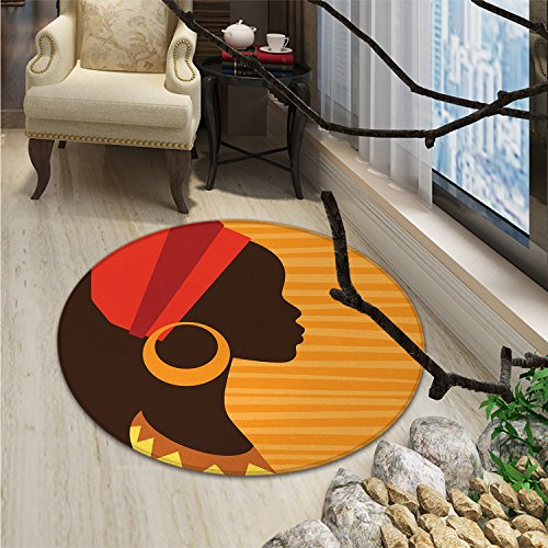 African Round Area Rug Girl Profile Silhouette with Earrings Feminine Grace Ethnic Icon ImageOriental Floor and Carpets Dark Brown and Marigold (Silhouettes Round Earrings)