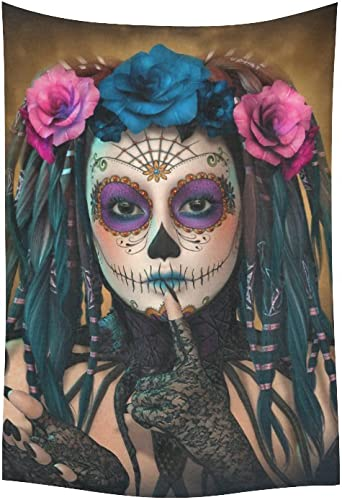 D-Story Wall Tapestry Sugar Skull Day of The Dead Cotton Linen Tapestry Wall Hanging 40 x 60 Wall Art Home Decor for Living Room Bedroom