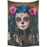 D-Story Wall Tapestry Sugar Skull Day Of The Dead Cotton Linen Tapestry Wall Hanging 40''x 60'' Wall Art Home Decor for Living room Bedroom