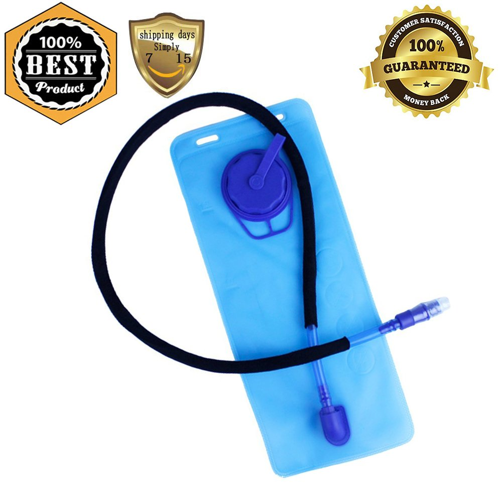 Hydration Bladder, 1 Pcs 1.5 Liter Non Toxic Water Reservoir Pack 50 Oz Easy Clean Bladders Bag Replacement for Cycling, Climbing, Hiking, Camping, Hunting, Running, Backpack, Blue