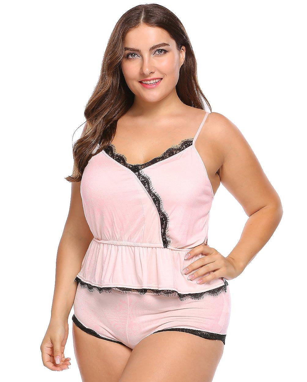 461959699f Involand Women s Plus Size Cotton Spaghetti Strap Pajamas Set Lace Trim  Ruffles Hem Cami   Shorts Set at Amazon Women s Clothing store