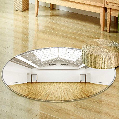 Print Area RugCommercial Empty Gallery Interior with Hard Wood Floors and skylights Photo reaPerfect for Any Room, Floor Carpet-Round - Gallery Interiors