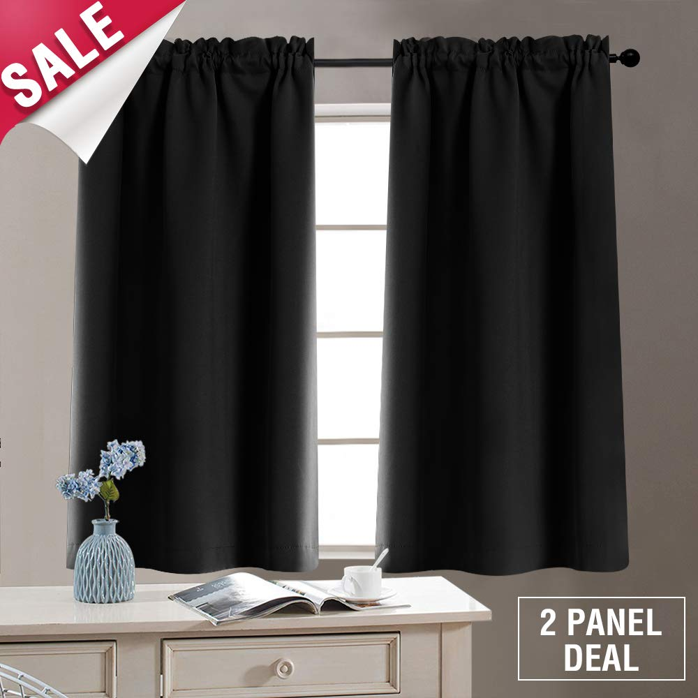 Tier Curtains Blackout Window Curtain Tiers Room Darkening Tiers for Kitchen Windows 40 Inches, Rod Pocket, 2 Panels, Tie Backs Included, Black