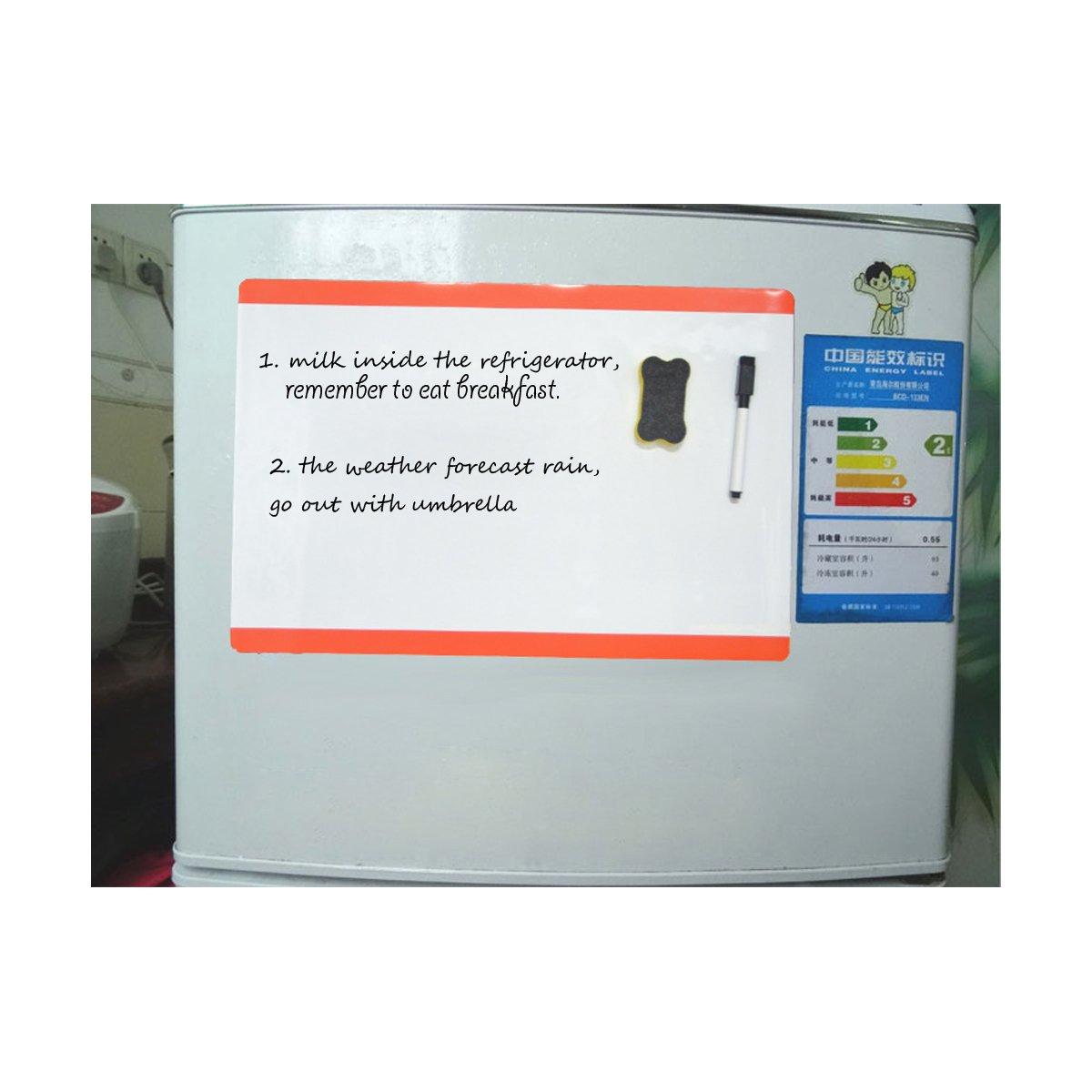 Long side black Villexun Planner Magnetic Board -Memo Board Fridge Magnet -Dry Erase Board Refrigerator -Dry Wipe White Magnetic Whiteboard Message Board and Reminder for Kitchen- A4 Size