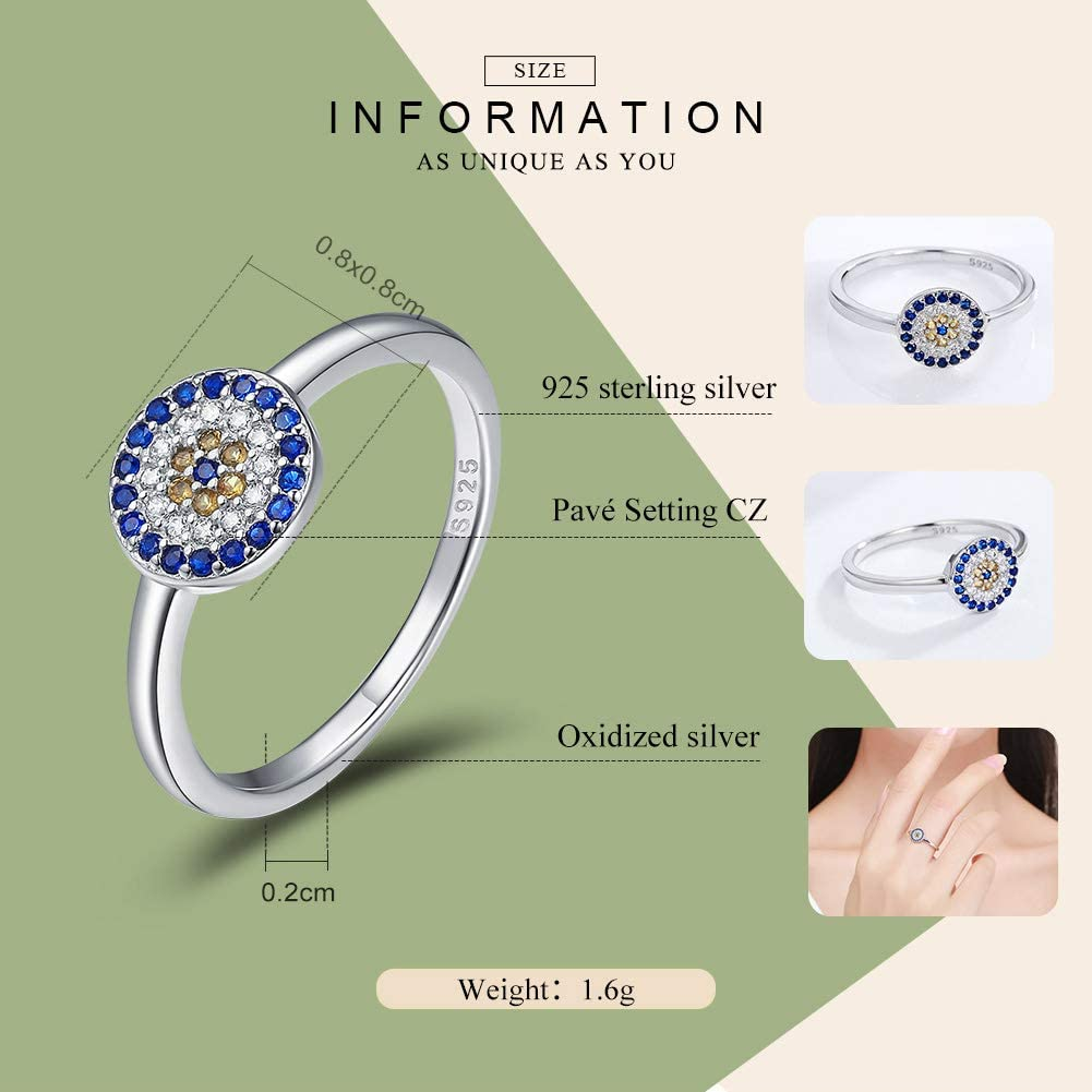 Everbling Evil Eye Of Guardian 925 Sterling Silver Ring Blue CZ