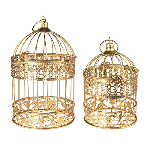 Homeford Gold Metal Wedding Bird Cage Centerpiece, Medium, 2-Piece
