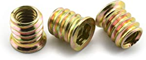 """LQ Industrial 30pcs 5/16""""-18 15mm Furniture Screw-in Nut Carbon Steel Color Zinc Plated Bolt Fastener Connector Hex Socket Drive Threaded Insert Nuts for Wood Furniture"""