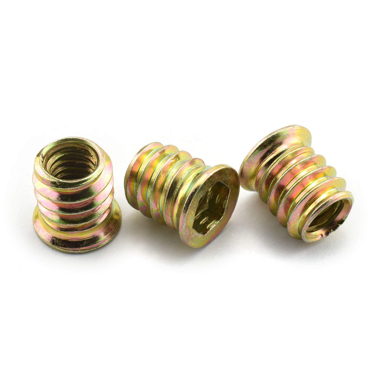 LQ Industrial 30pcs 5//16-18 15mm Furniture Screw-in Nut Carbon Steel Color Zinc Plated Bolt Fastener Connector Hex Socket Drive Threaded Insert Nuts for Wood Furniture