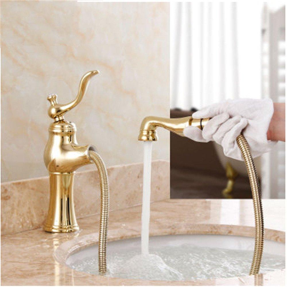 Continental Antique Gold Jade Dragon, Cu alle ziehen Bad Armatur, Waschtisch Dusche mit heißem und kaltem Wasser,