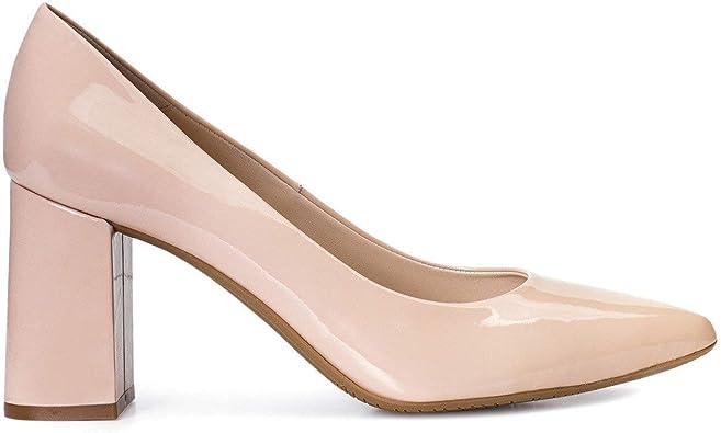 Mara - Salones de Vestir para Mujer en Piel con Punta Fina - Hechos en España - Tacon Alto Ancho de 8 cm - Forro de Piel - Moda Tacones Elegantes - Piel: Amazon.es: Zapatos y complementos