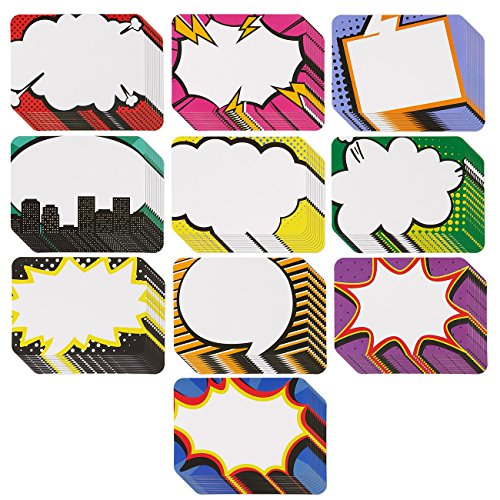(Name Tags - 100-Count Superhero Name Tags, Assorted Pop-Art Name Label Sticker, Ideal for Students and Teachers use, 10 Designs, 3.5 x 2.5)