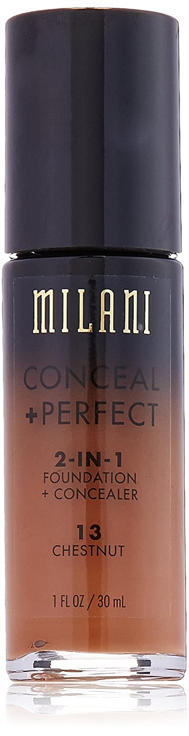 Milani Conceal + Perfect 2-in-1 Foundation Concealer, Chestnut, 1.0 Fluid Ounce
