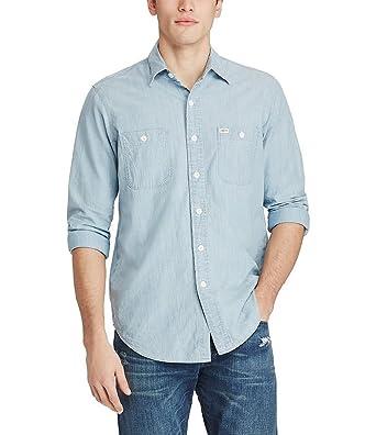 2262f3fb0 Polo Ralph Lauren Men s Cotton Chambray Long Sleeve Woven Workshirt Shirt  (X-Small