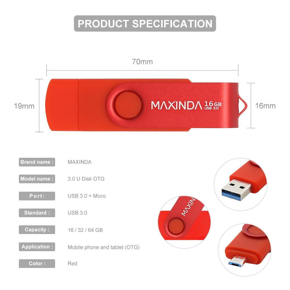 MAXINDA 32 GB Penna USB 3.0 OTG 2 in 1 Micro USB e Memoria Stick per Android Telefono, Tablet e PC (Rosso)